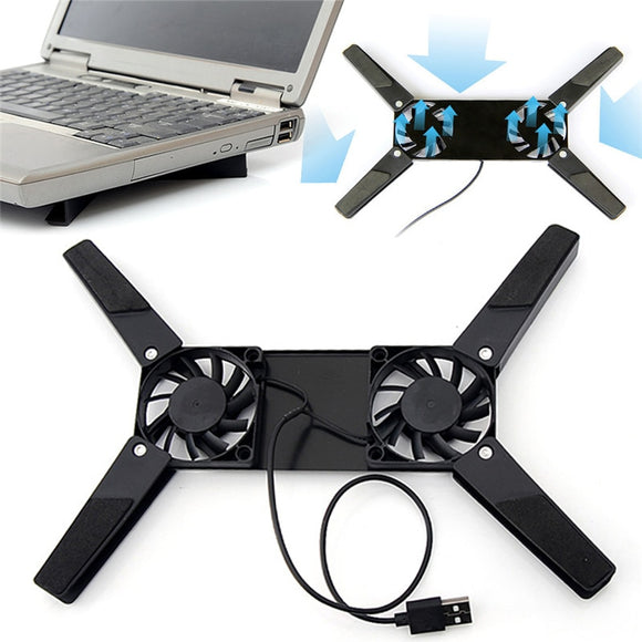 2 Fans Cooler Notebook Cooler Stand+USB Fan
