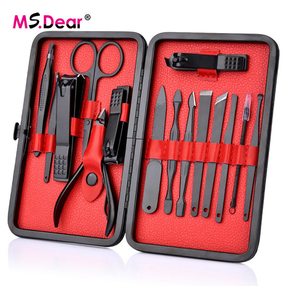 15 Pcs Black Stainless Steel Nail Grooming Kit