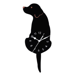 1Pcs Acrylic And EVA Foam Creative Cartoon Cute Dog Wall Clock Home Decor Watch Way Tail Move Silence Wall Clock 3d Sticker Home