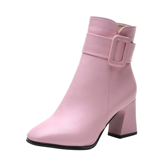 Fashion Women Boots High Heels Women Ankle Boots Sexy Pointed Toe Martin Boots Pink Color