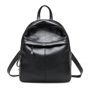 Women Leather Backpack Litchi Pattern