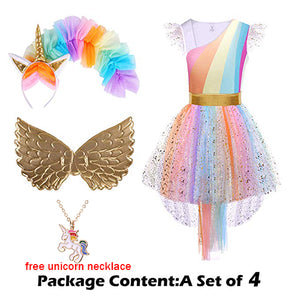 Girls Unicorn Costume Princess Dress- Cosplay Tutu Dress With Headband