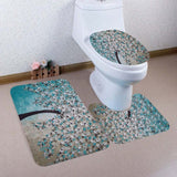 3Pcs Bath Toilet Mat Sets Bathroom Print Tree Non-Slip Pedestal Rug Lid Toilet Cover Toilet Mat Set Christmas Decoration Mat