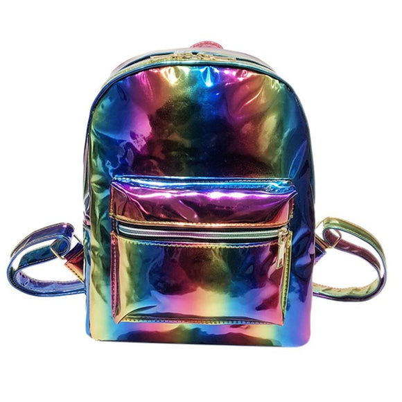 Rainbow Laser Leather School Bag-Backpack