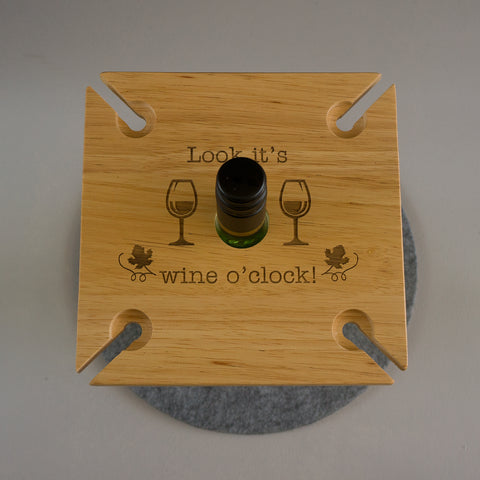 Wooden wine glass and bottle holder