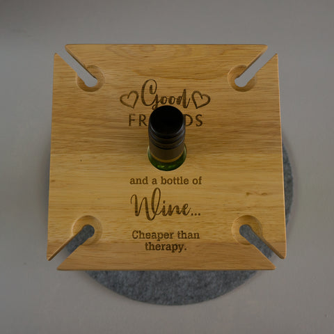 4 wine glass and bottle tray