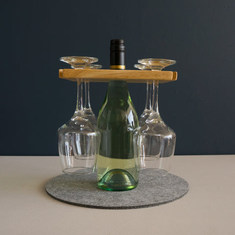 Personalised wooden wine glass and bottle tray