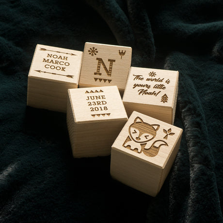 Personalised adventure wooden building blocks