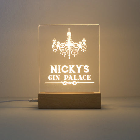 Personalised Gin Palace LED sign with wooden base
