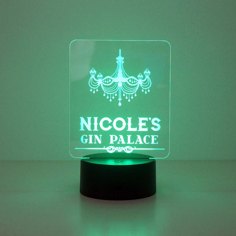 Personalised gin palace light up sign lamp