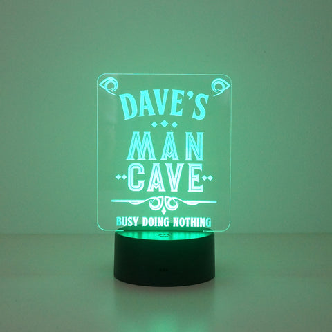 Personalised man cave multi colour LED lamp