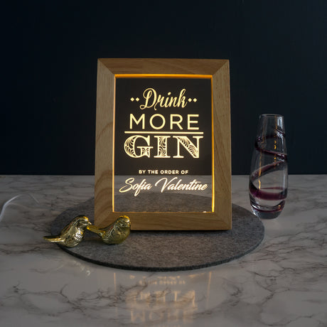 Personalised drink more gin LED sign