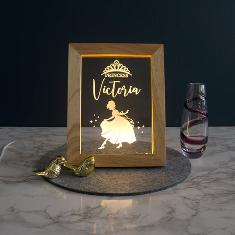 Personalised princess LED bedroom name sign