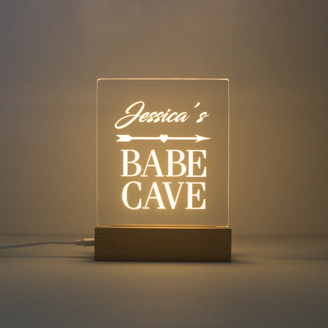Custom engraved Babe Cave LED light up sign. Personalised table lamp