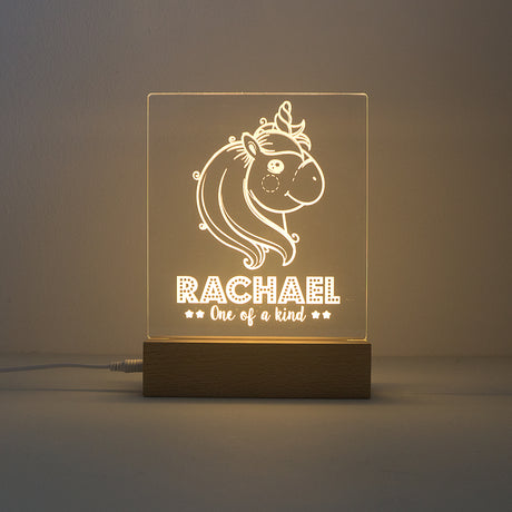 Personalised light up LED unicorn sign. Custom engraved child's night light.