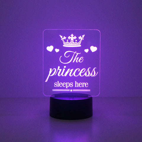 The Princess sleeps here LED bedroom sign