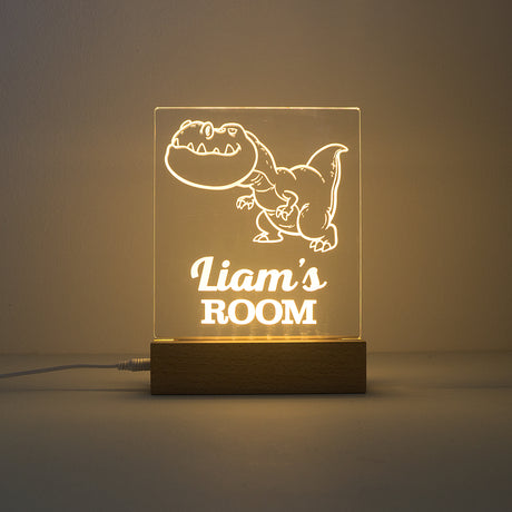 Personalised dinosaur bedroom name sign. LED night light.