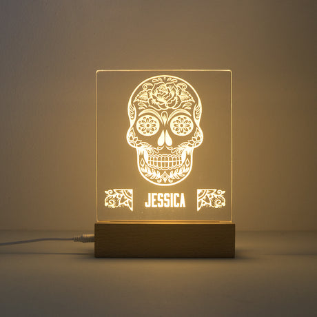 Custom engraved sugar skull LED light up sign