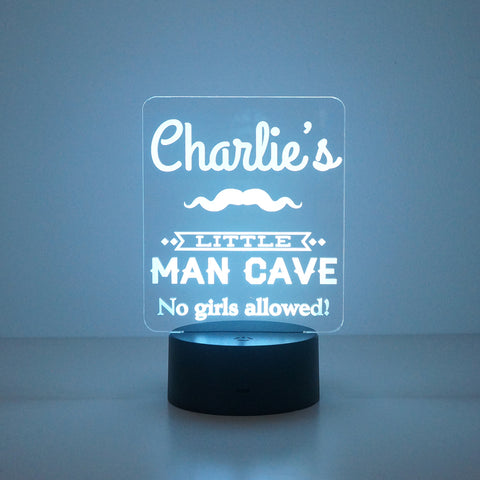 Personalised little man's cave LED sign night light