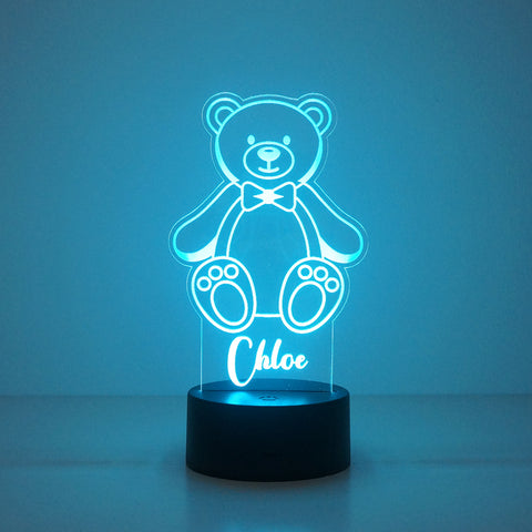 Personalised child's teddy bear LED bedroom sign