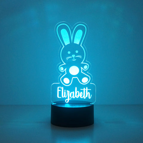 Personalised child's rabbit LED bedroom sign