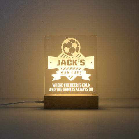 Personalised football man cave light. Custom engraved LED name sign