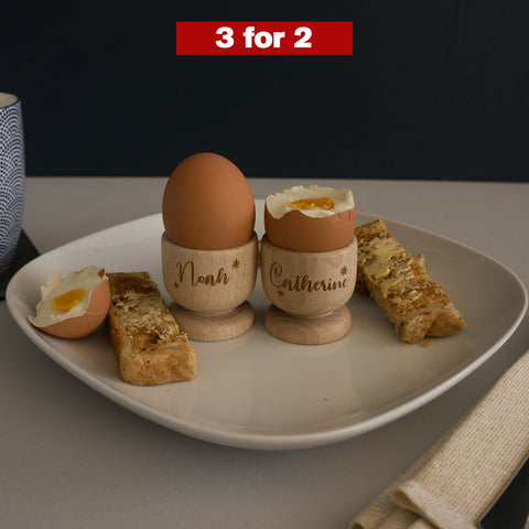 2x Personalised wooden egg cups