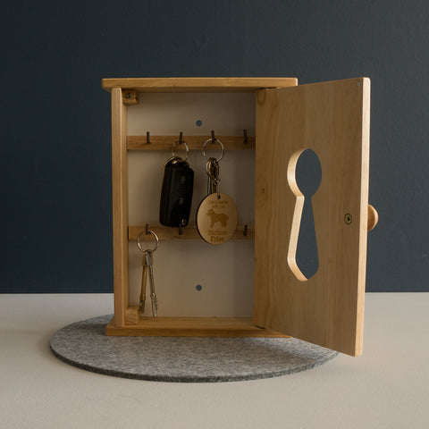 Wooden key locker box