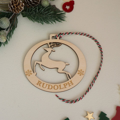 Personalised reindeer wooden bauble