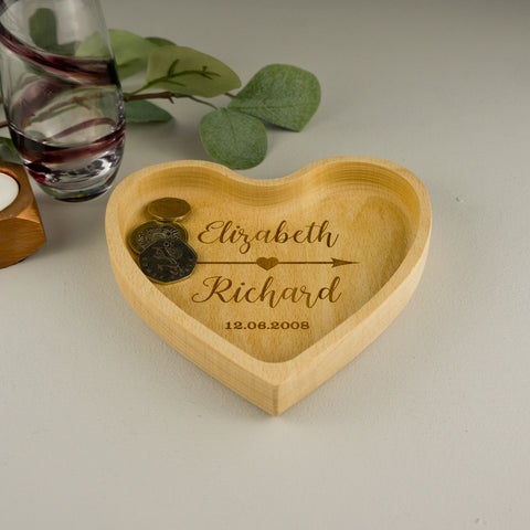 Love heart wooden coin tray