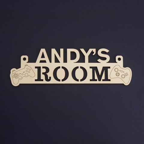 Boy's video gaming bedroom name sign