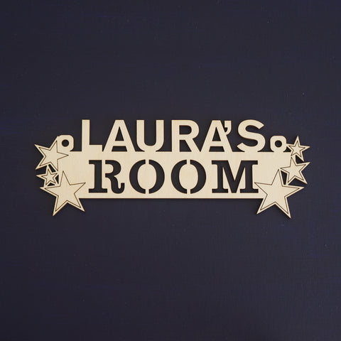 Children star pattern bedroom name plaque