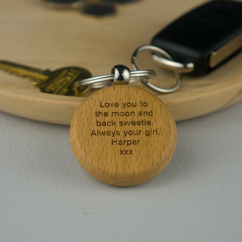 Beech wood keyring for couples