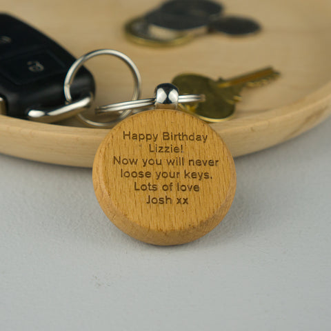Personalised beech wood keyring