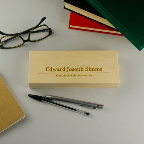 Personalised wooden pen box