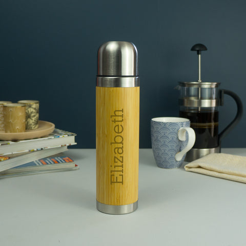 Personalised bamboo and metal vacuum flask