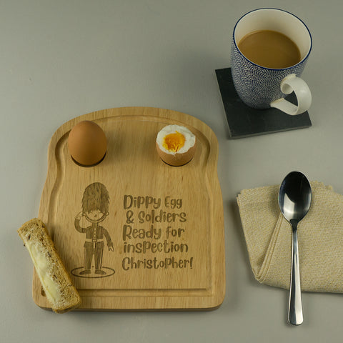 Queens Guard personalised egg and toast board