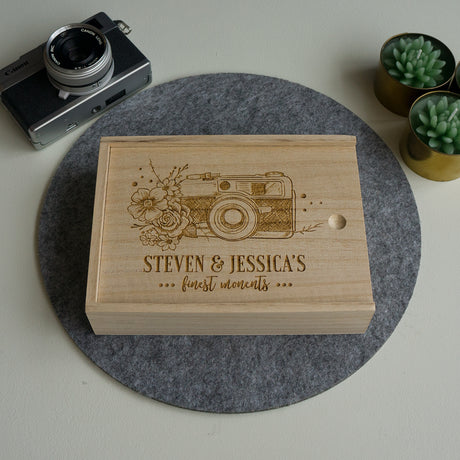 Wooden photo album. Personalised photo storage box