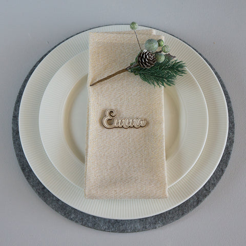 5x Personalised Christmas dinner place settings