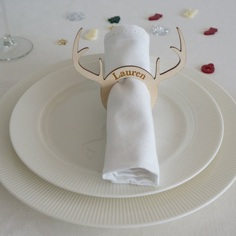 3x Personalised Christmas antler napkin rings
