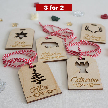 3x Personalised Christmas parcel tags