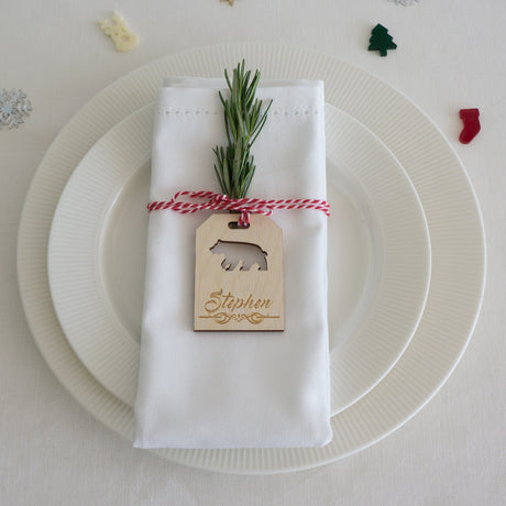 Personalised Christmas parcel tags. Dinner place settings