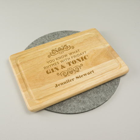 Personalised gin and tonic chopping board