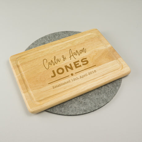 Personalised newly weds chopping board