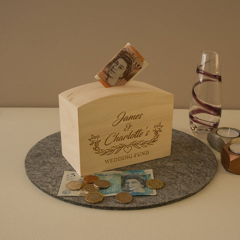 Personalised money box for wedding ideal engagement gift