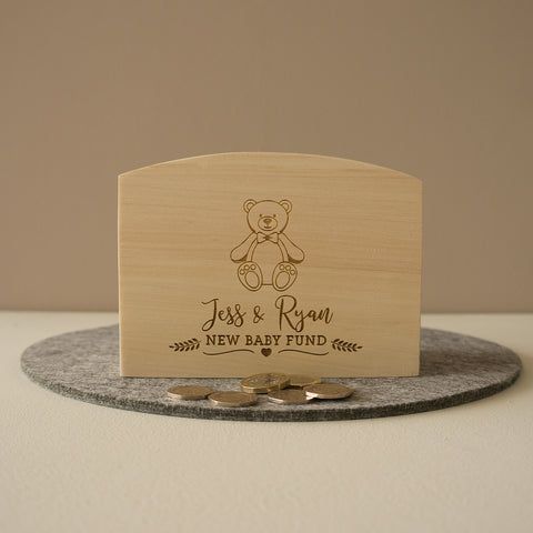Personalised money box for parents to be. New baby fund