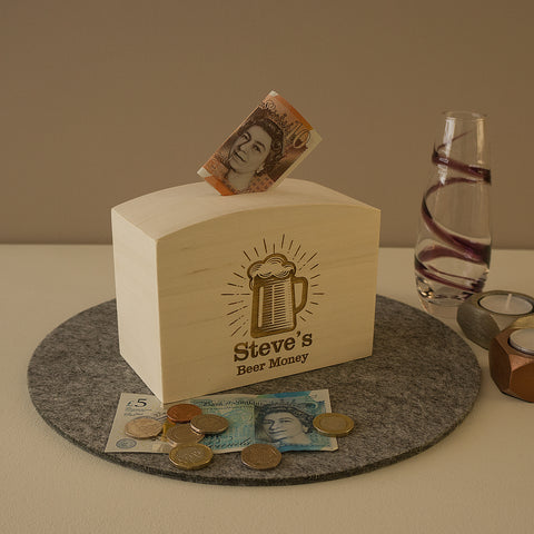 Funny personalised money box. Man cave beer money savings box