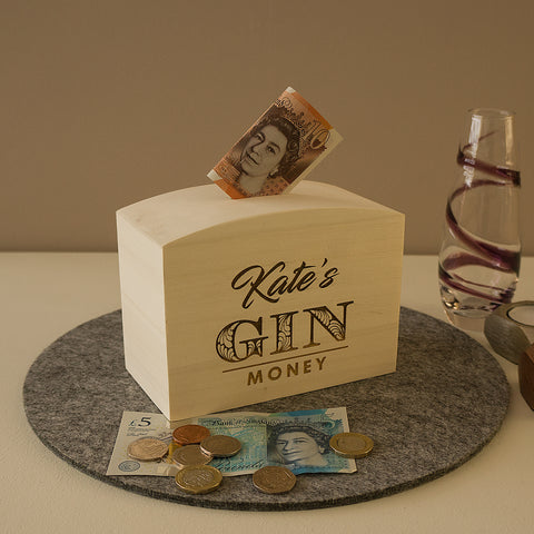 Personalised money box. Engraved wooden funny gin savings box.