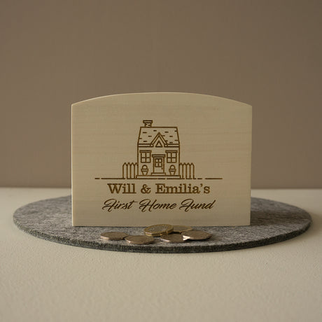 First home savings fund. Personalised engraved wooden money box