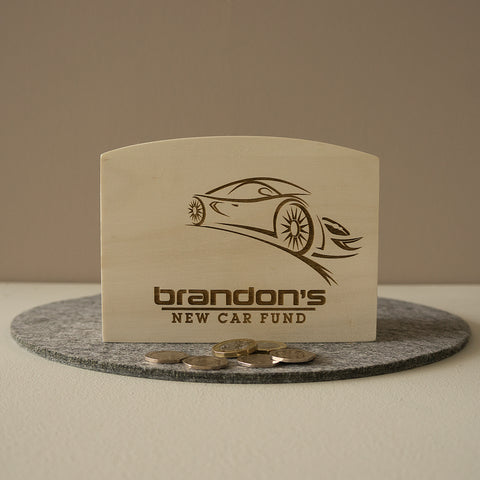 New car fund. Personalised car savings money box